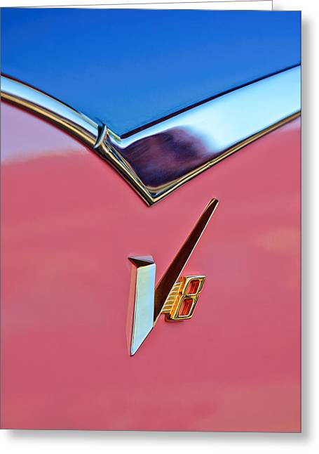 1955 Dodge Royal Lancer V8 Emblem -0639c Greeting Card