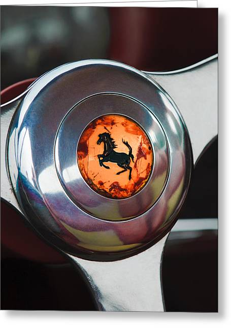 1955 Ferrari 250 Europa Gt Pinin Farina Berlinetta Steering Wheel Emblem Greeting Card by Jill Reger