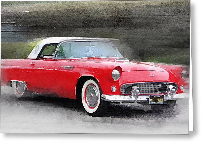 1955 Ford Thunderbird Watercolor Greeting Card by Naxart Studio