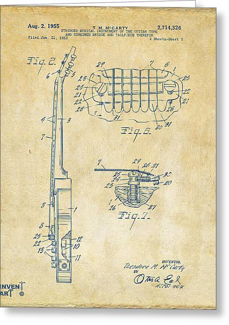 1955 Mccarty Gibson Les Paul Guitar Patent Artwork 2 Vintage Greeting Card by Nikki Marie Smith