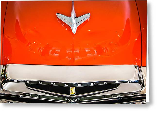 1955 Studebaker Champion Conestoga Custom Wagon Hood Ornament - Grille Emblem -0325c Greeting Card by Jill Reger
