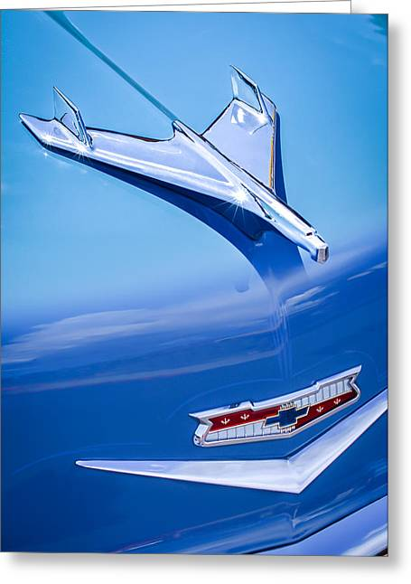 1956 Chevrolet 210 2-door Handyman Wagon Hood Ornament - Emblem Greeting Card by Jill Reger