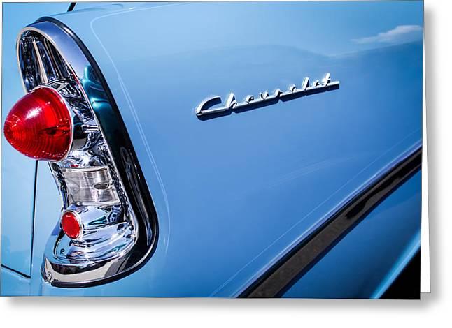 1956 Chevrolet 210 2-door Handyman Wagon Taillight Emblem Greeting Card by Jill Reger