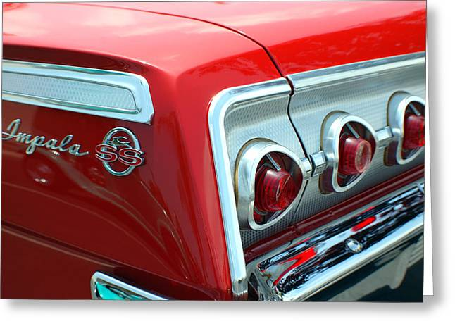 1956 Chevrolet Impala Ss Taillights 2 Greeting Card by DJ Monteleone