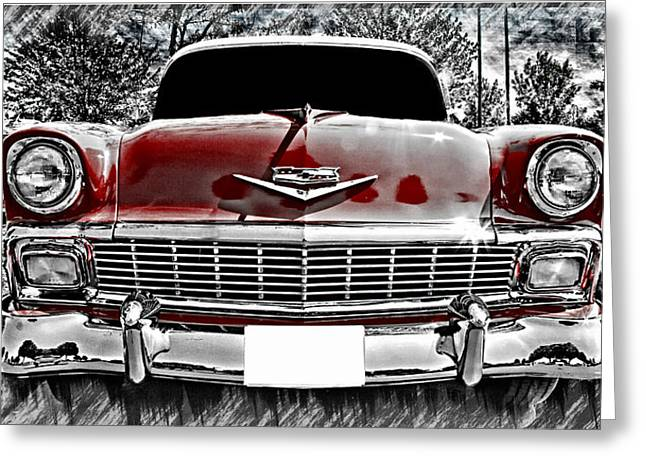 Vehicles Greeting Card featuring the photograph 1956 Chevy Bel Air by Aaron Berg