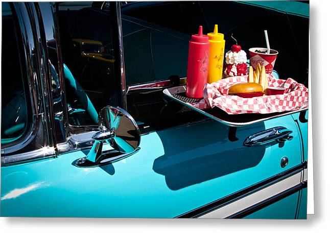 1956 Chevy Bel Air  I Said No Pickles Where Is That Carhop Greeting Card