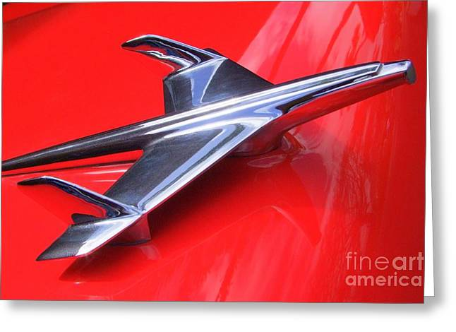 1956 Chevy Hood Ornament Greeting Card by Mary Deal