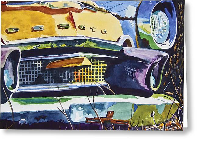 1956 Desoto Abstract Greeting Card by Rick Mock