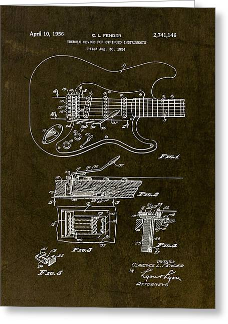 1956 Fender Tremolo Patent Drawing II Greeting Card