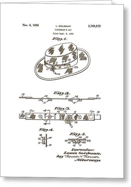 1956 Fisherman's Hat Patent Greeting Card