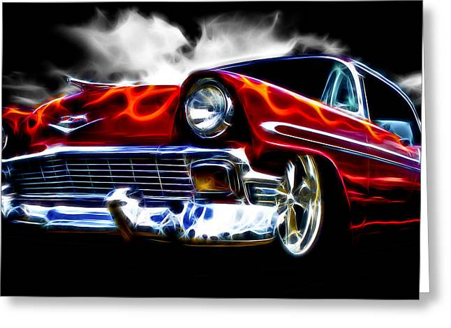 1956 Flamin Chevrolet Greeting Card by Phil 'motography' Clark