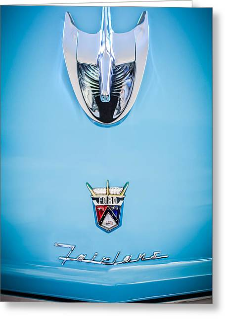 1956 Ford Parklane Wagon Hood Ornament - Emblem -0347c Greeting Card by Jill Reger