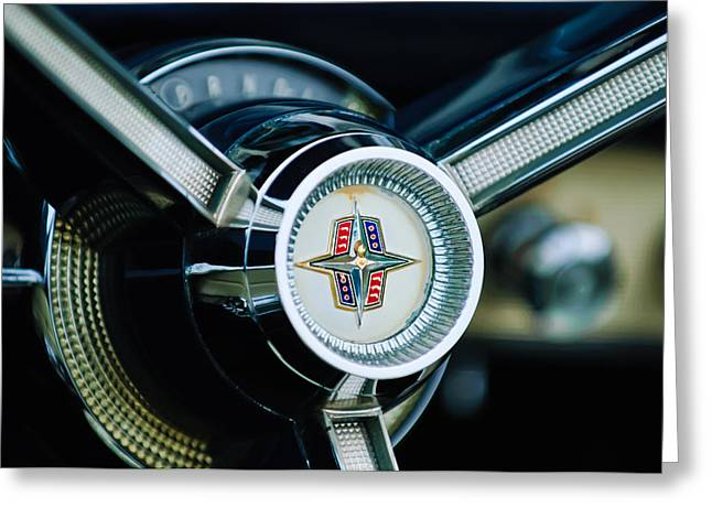 1956 Lincoln Continental Mark II Hess And Eisenhardt Convertible Steering Wheel Emblem Greeting Card by Jill Reger
