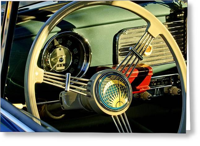 1956 Greeting Cards - 1956 Volkswagen VW Bug Steering Wheel 2 Greeting Card by Jill Reger