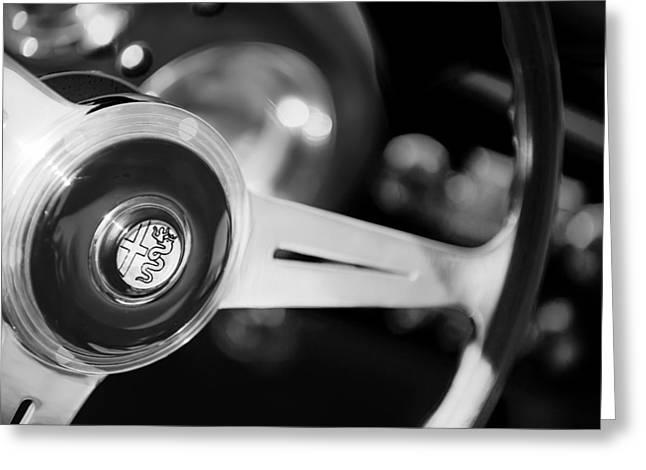 1957 Alfa-romeo 1900c Super Sprint Steering Wheel Emblem -1123bw Greeting Card by Jill Reger