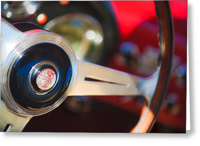 1957 Alfa-romeo 1900c Super Sprint Steering Wheel Emblem Greeting Card by Jill Reger