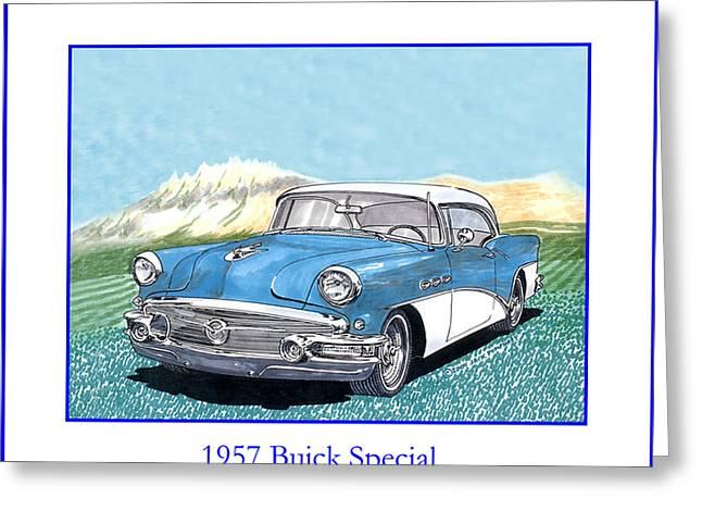1957 Buick Riviera Special Hard Top Convertible Greeting Card by Jack Pumphrey