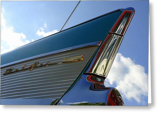 1957 Chevrolet Bel Air Fin Greeting Card by Joseph Skompski