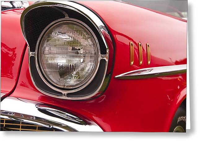 1957 Chevrolet Bel Air Headlight Greeting Card