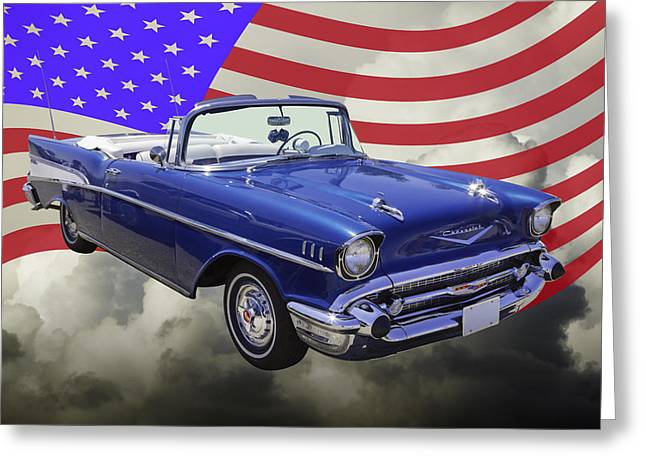 1957 Chevrolet Bel Air With American Flag Greeting Card by Keith Webber Jr