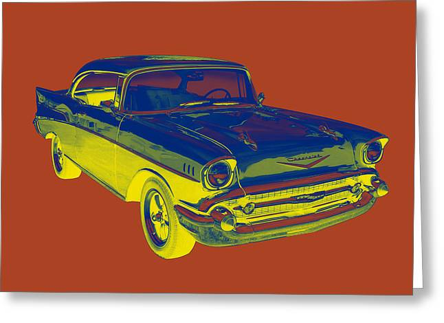 1957 Chevy Bel Air Car Pop Art  Greeting Card by Keith Webber Jr