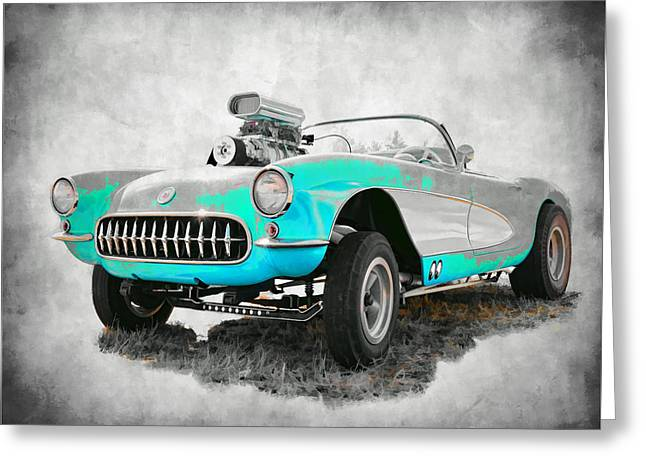 1957 Corvette Gasser Greeting Card by Steve McKinzie