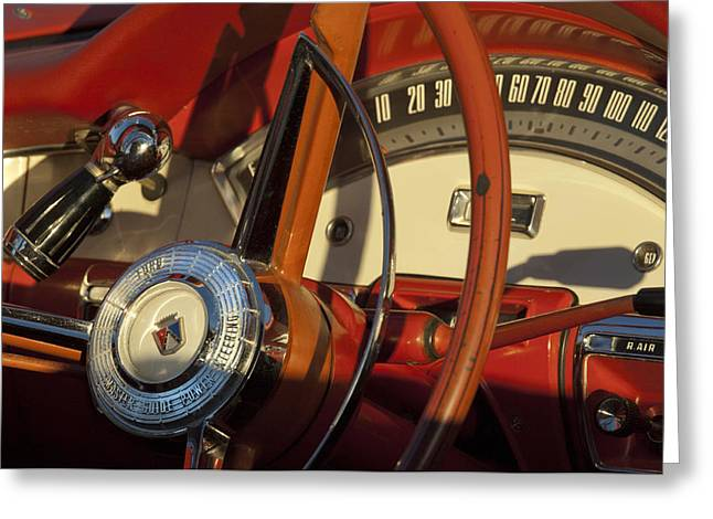 1957 Ford Fairlane 500 Skyliner Retractable Hardtop Convertible Steering Wheel Greeting Card