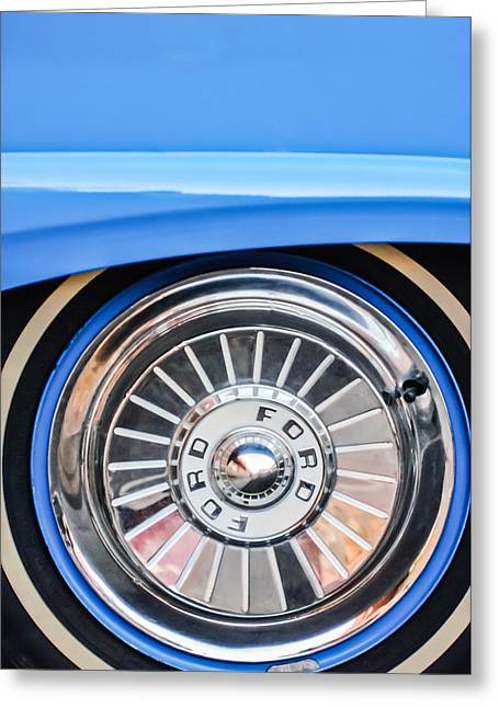 Fairlane Greeting Cards - 1957 Ford Fairlane Wheel Greeting Card by Jill Reger