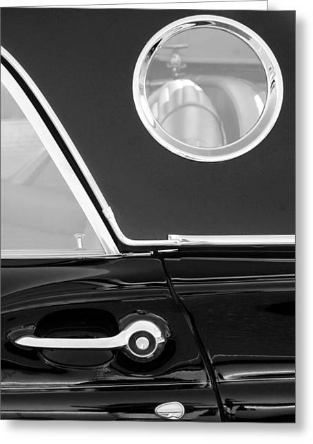 1957 Ford Thunderbird Window Black And White Greeting Card by Jill Reger