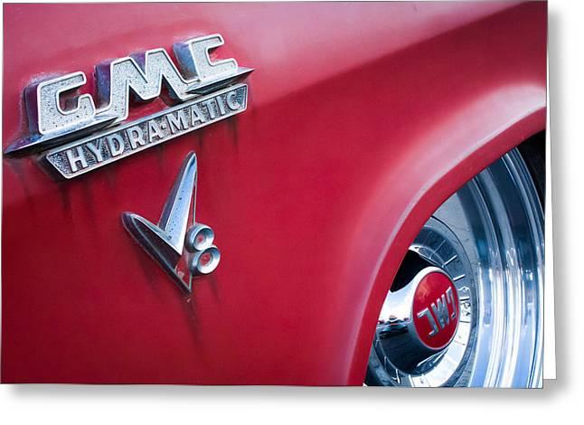 1957 Gmc V8 Pickup Truck Gmc Hydra-matic Emblem Greeting Card by Jill Reger