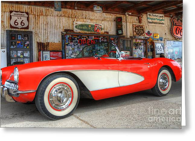 1957 Little Red Corvette Route 66 Greeting Card by Bob Christopher