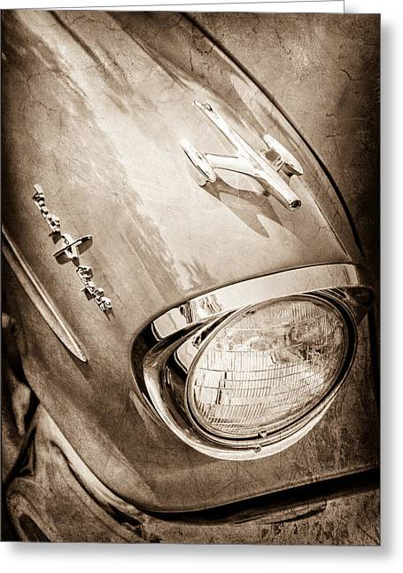 1957 Oldsmobile 98 Starfire Convertible Hood Ornament - Emblem Greeting Card by Jill Reger