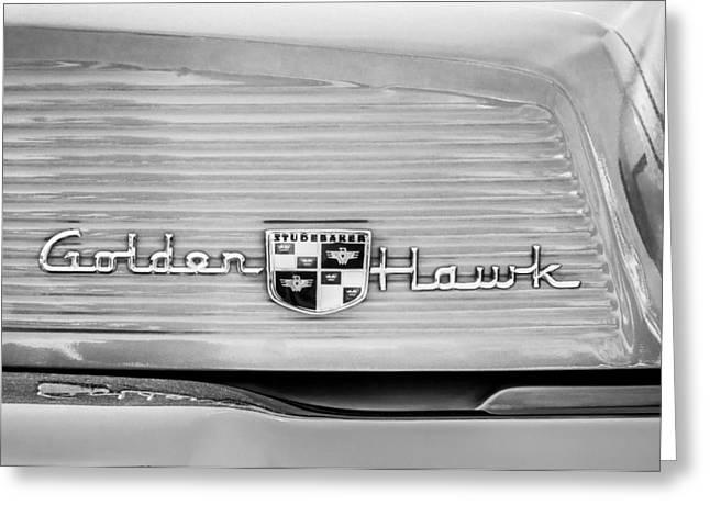 1957 Studebaker Golden Hawk Hardtop Emblem - 2948bw Greeting Card by Jill Reger