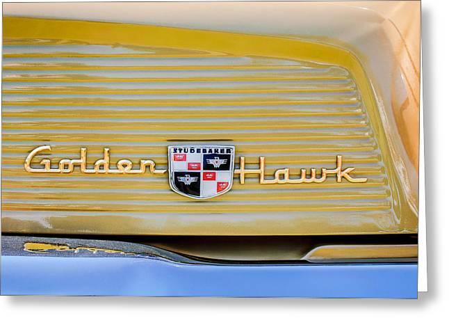 1957 Studebaker Golden Hawk Hardtop Emblem - 2948c Greeting Card by Jill Reger