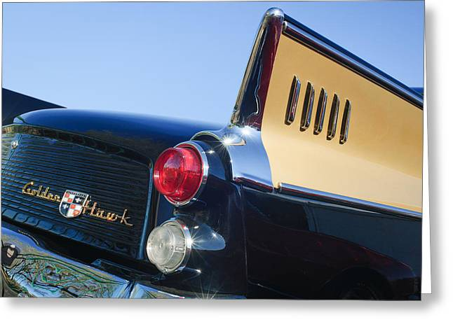 1957 Studebaker Golden Hawk Supercharged Sports Coupe Taillight Emblem Greeting Card