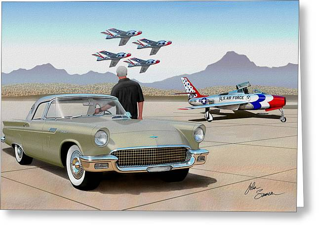 1957 Thunderbird  With F-84 Thunderbirds Inca Vintage Ford Classic Art Sketch Rendering            Greeting Card