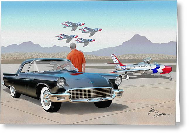 1957 Thunderbird  With F-84 Thunderbirds Vintage Ford Classic Car Art Sketch Rendering          Greeting Card by John Samsen