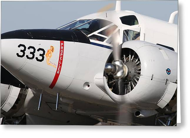 1957 Twin Beech E185 Taxis From The Ramp N5867 Greeting Card by John King