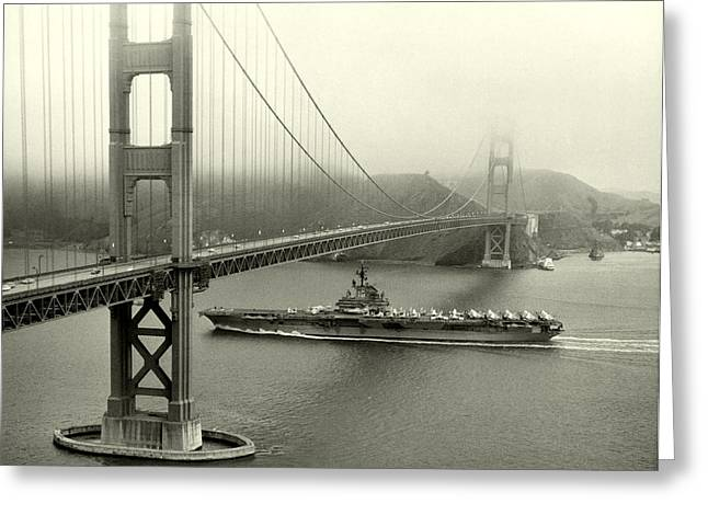 1957 Uss Hancock In San Francisco Greeting Card by Historic Image