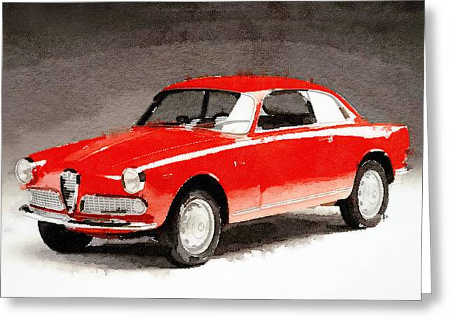 1958 Alfa Romeo Giulietta Sprint Watercolor Greeting Card