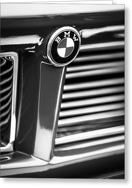 1958 Bmw 3200 Michelotti Vignale Roadster Grille Emblem -2414bw Greeting Card by Jill Reger