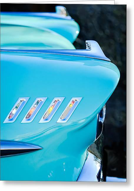 1958 Chevrolet Belair Hood Ornament Greeting Card by Jill Reger