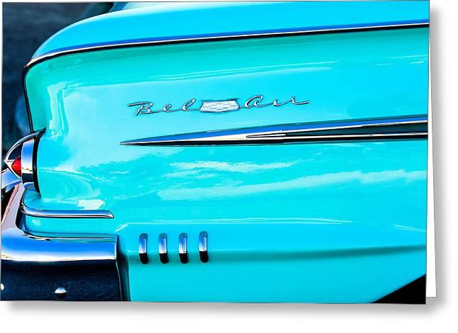 1958 Chevrolet Belair Tail Emblem Greeting Card by Jill Reger
