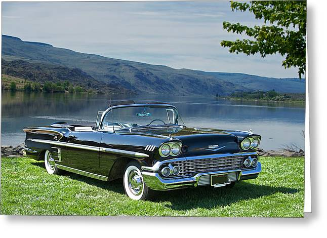 1958 Chevrolet Impala Convertible Greeting Card by Dave Koontz