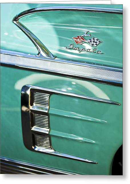 1958 Chevrolet Impala Emblem Greeting Card by Jill Reger