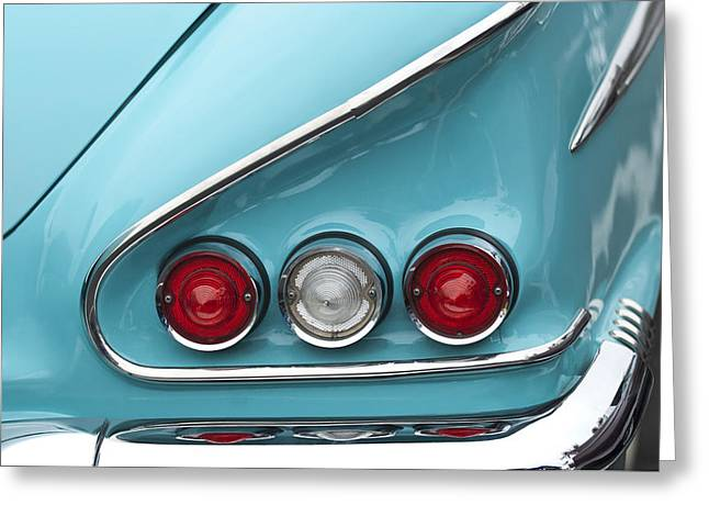 Tail Light Greeting Cards - 1958 Chevrolet Impala Taillights  Greeting Card by Jill Reger