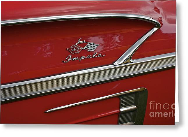 1958 Chevy Impala Greeting Card by Linda Bianic