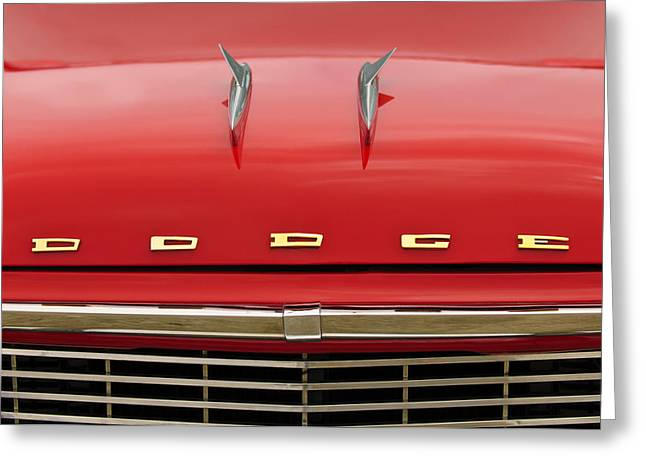 1958 Dodge Coronet Super D-500 Convertible Hood Ornament Greeting Card