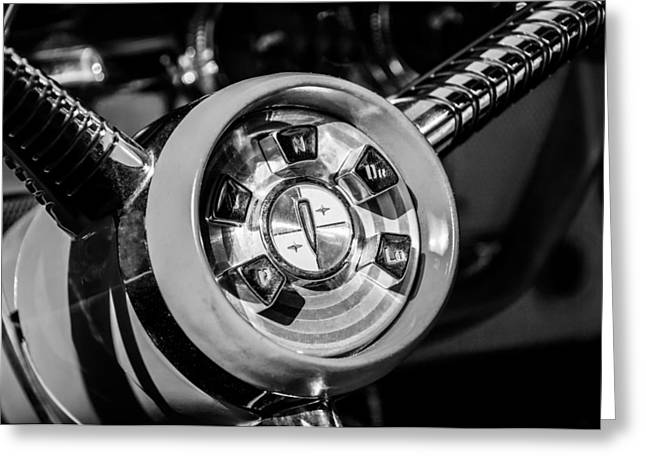 1958 Edsel Pacer Convertible Steering Wheel Transmission -0895bw Greeting Card by Jill Reger