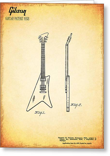 1958 Gibson Guitar Patent Greeting Card